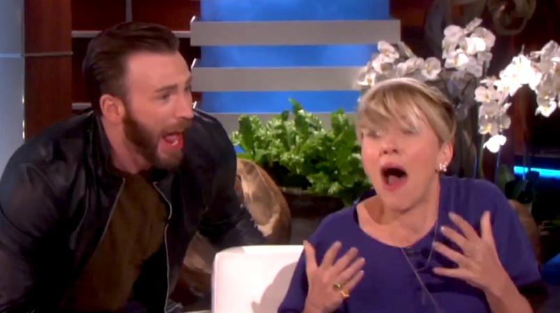 Chris Evans scared the sh*t out of Scarlett Johansson on 'Ellen.'