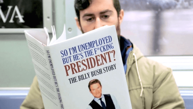Comedian trolls Trump supporters on the subway with hilariously weird fake books.