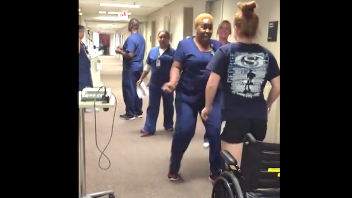 A girl with unexplained paralysis surprised her favorite nurse with her recovery.