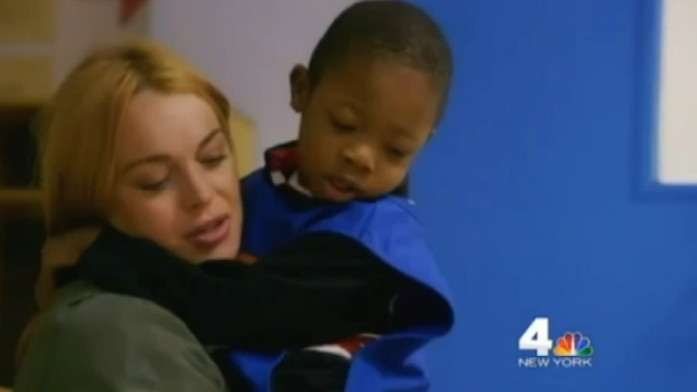 Lindsay Lohan started her community service at a daycare, and a warning was sent to parents.