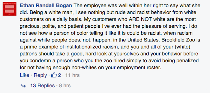 "Zoo worker fired for Instagram post about ""rude a** white people"" she deals with at her job."