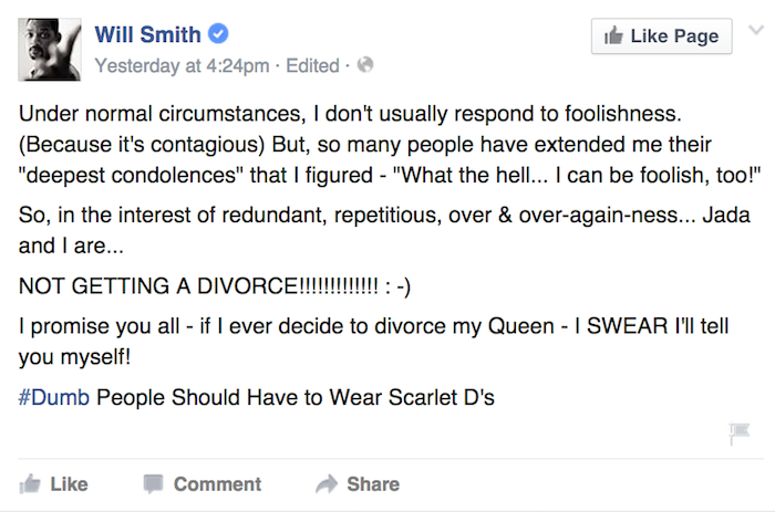Will Smith responds to divorce rumors with emoticons and hashtags.