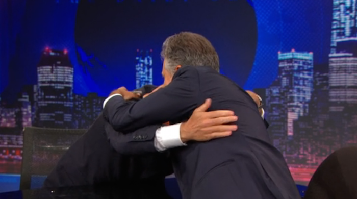 Stephen Colbert went off script last night to say thank you and make Jon Stewart cry.