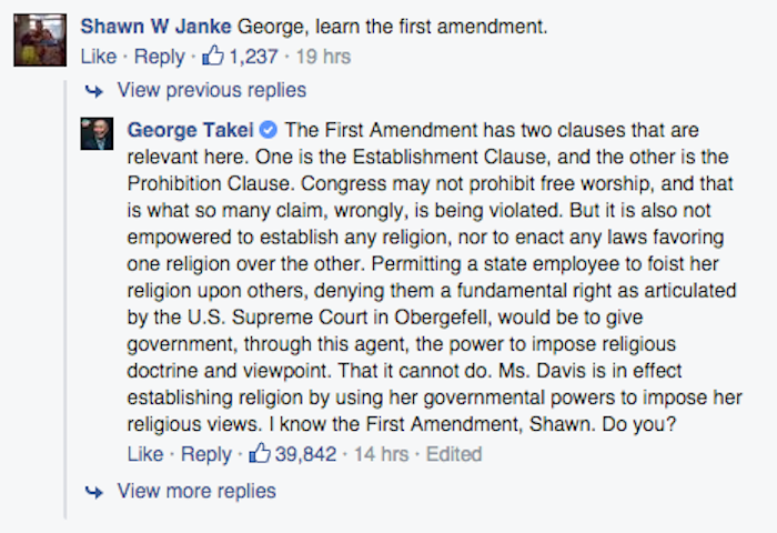 George Takei, one true king of Facebook, gives Kim Davis the smackdown.