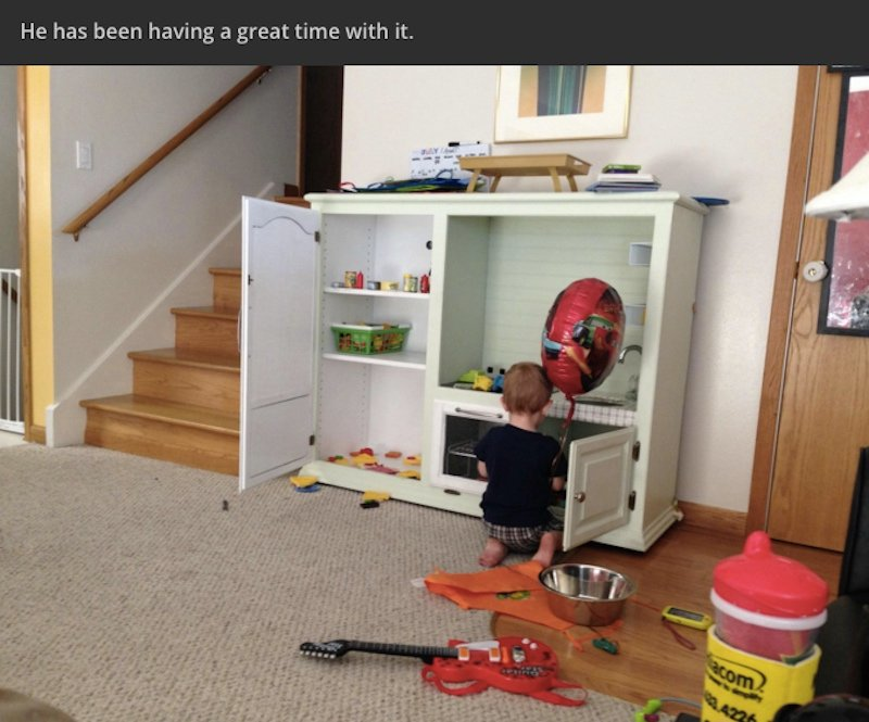 Dad takes on Internet trolls, defends building a kickass DIY kitchen playset for his son.