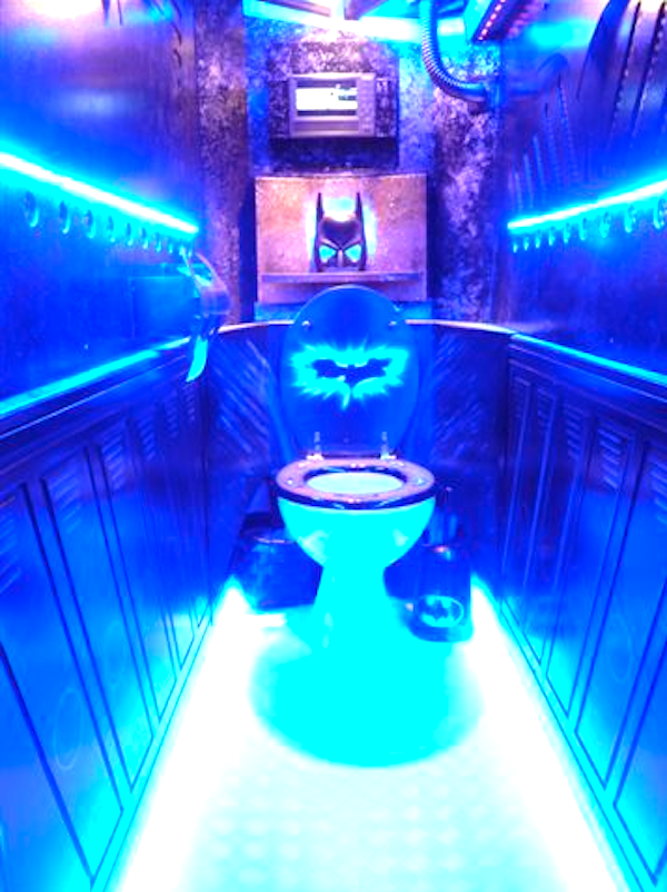 Be Horrified By Every Stain Your Clothes Have Ever Seen In This Blacklight Batman Bathroom