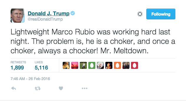 Marco Rubio is bound to chock under pressure.