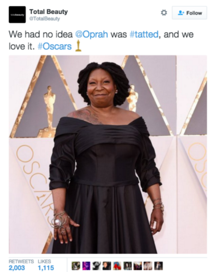 #OscarsSoWhite we can't tell the difference between Oprah & Whoopi.