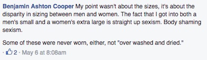 Man helps girlfriend clean out closet, rants on Facebook about how much women's sizing sucks.