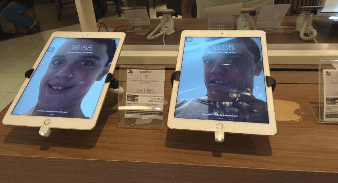 Kid with too much time on his hands turns Apple Store into a magnificent gallery of goofy selfies.