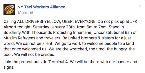 While NYTWA chose to join the Muslim Ban protests, Uber took advantage of it.