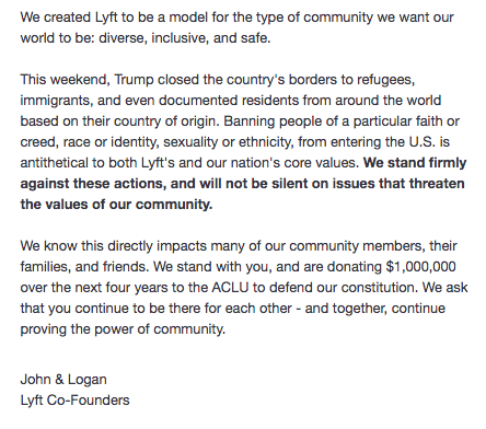 Lyft standing up for what's right. Uber should take note.