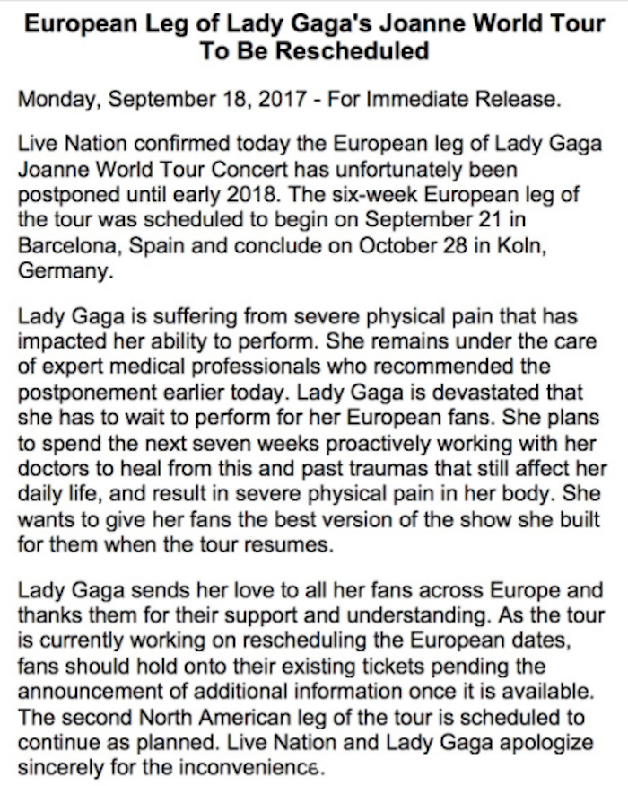 Lady Gaga reveals the painful reason she's canceling her tour in emotional Instagram post.
