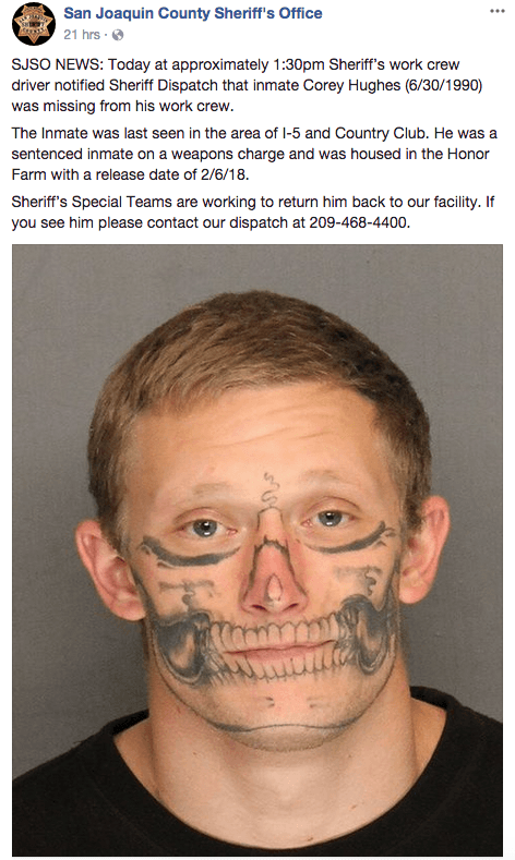 b0e27c69d75ae Police are looking for a fugitive whose face looks like a skeleton. Seen  him?