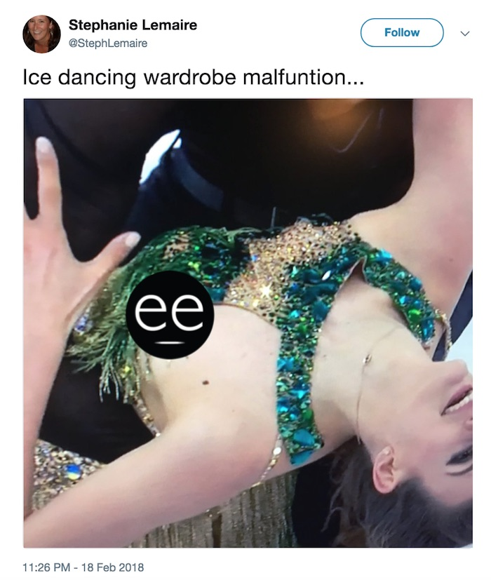 French figure skater suffers a nip-slip after nightmare wardrobe malfunction at Olympics.