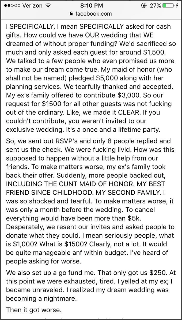 World's pettiest bride calls off wedding after asking guests for $1,000 each. Then her story went viral.