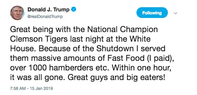 Trump bought fast food to 'honor' football champs. Mmm, McMemes!