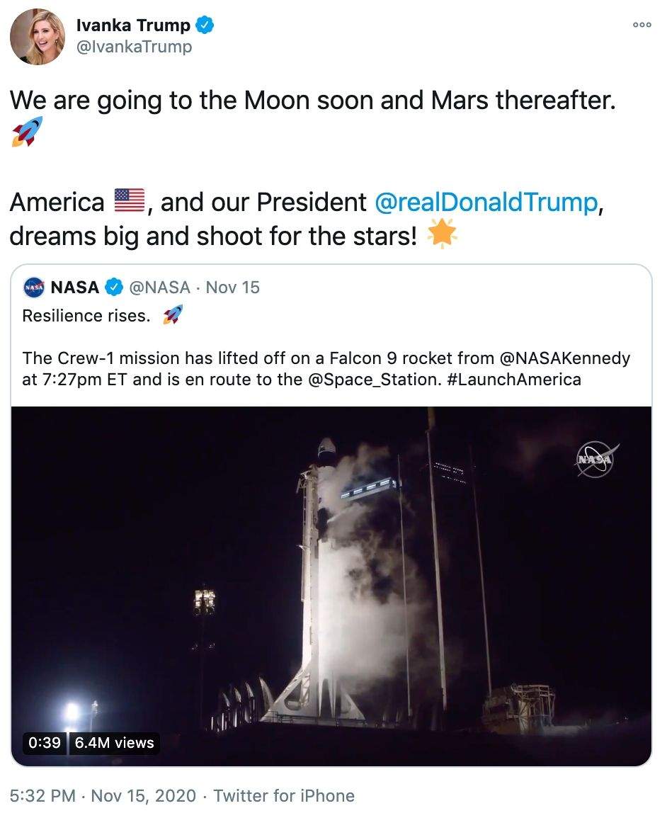 18 of the funniest reactions to Ivanka Trump tweeting: 'we are going to the moon and Mars.'