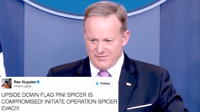 The funniest theories on why Sean Spicer wore his flag pin upside-down.