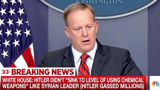 Twitter aggressively fact-checks Sean Spicer's tragically inaccurate claim about Hitler.