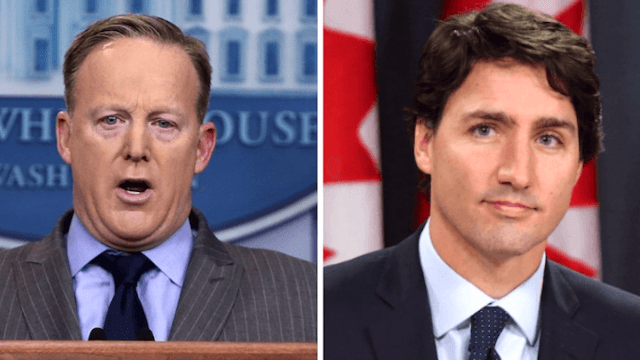 Twitter is not about to let Sean Spicer get away with calling Justin Trudeau 'Joe.'