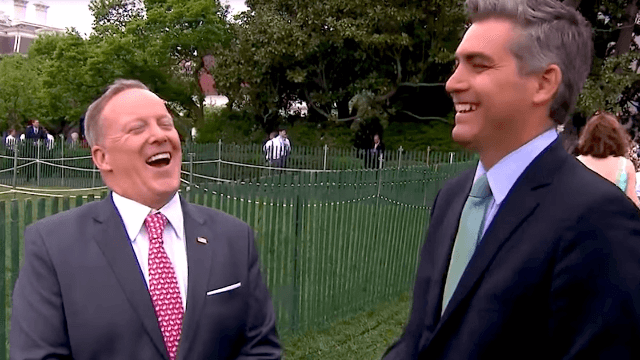 Sean Spicer was asked about Melissa McCarthy's 'SNL' impression and tried so hard not to look mad.