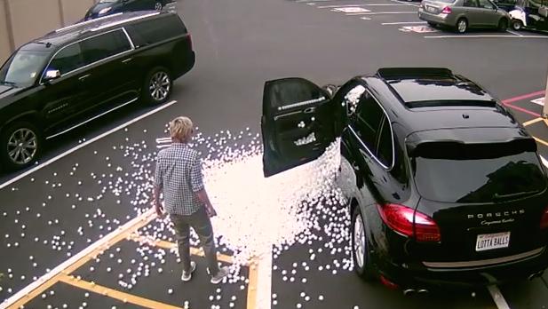 Matt Lauer revenge-pranks Ellen DeGeneres with thousands of ping pong balls.