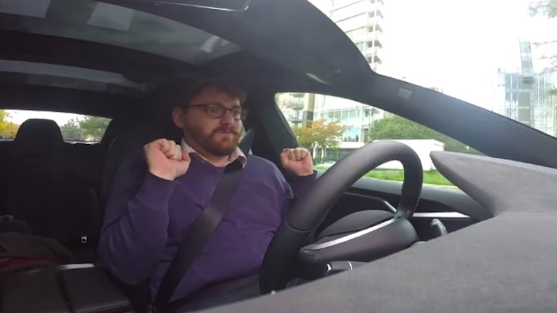 This video of a man not driving a self-driving car is just as exciting as it is scary.