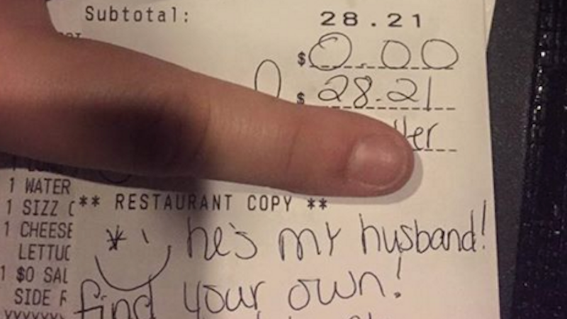 Server writes an open letter to a jealous newlywed that refused to tip.