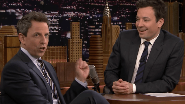 Seth Meyers defends Jimmy Fallon for getting Trump elected: Nah, 'I'm the reason he won.'
