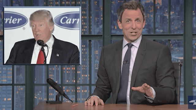 Seth Meyers calls out Trump for lying about saving 1,100 Carrier jobs.