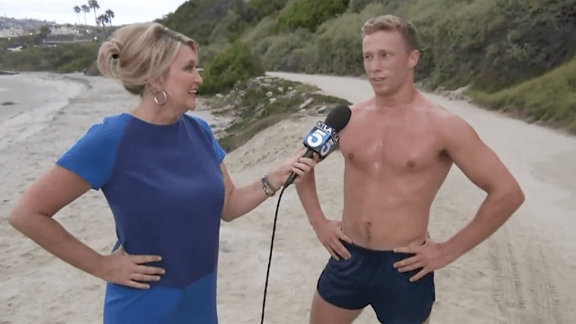 Reporter left speechless by interview with hot shirtless beach man.