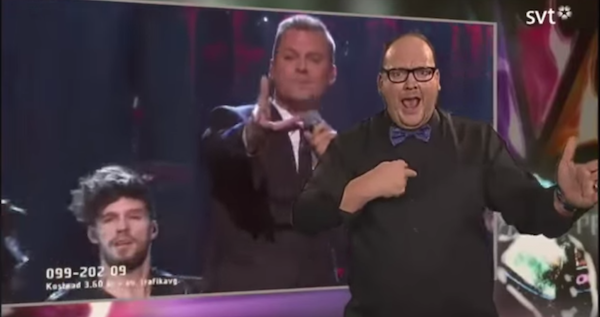 Sign language interpreter steals the show at Eurovision Song Contest.