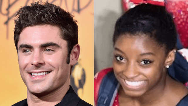 Simone Biles' crush Zac Efron tweeted his support to her and the rest of Team USA.