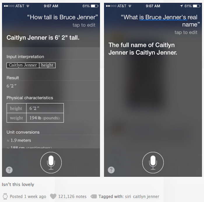 Don't try to call Caitlyn Jenner the wrong name around your iPhone. Siri's got her back.