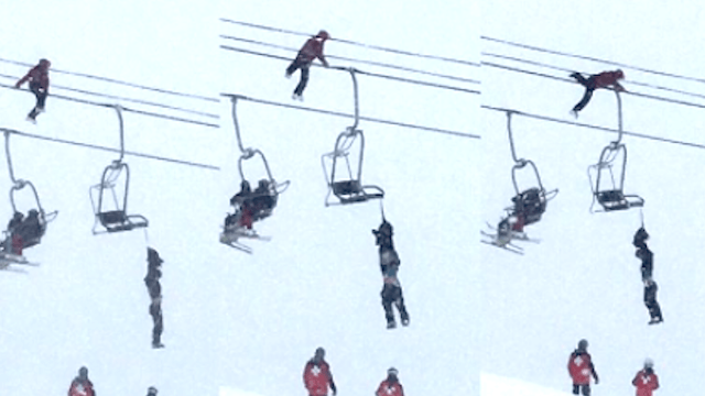 Harrowing video shows the moment a fast-acting skier saved a man's life.