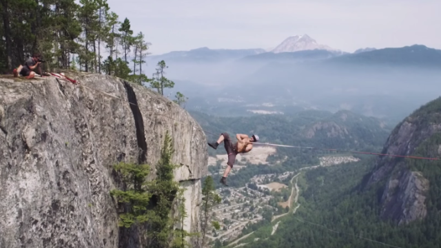Watching this guy fall off a slackline 1000 ft in the air will make you very happy you're sitting down.