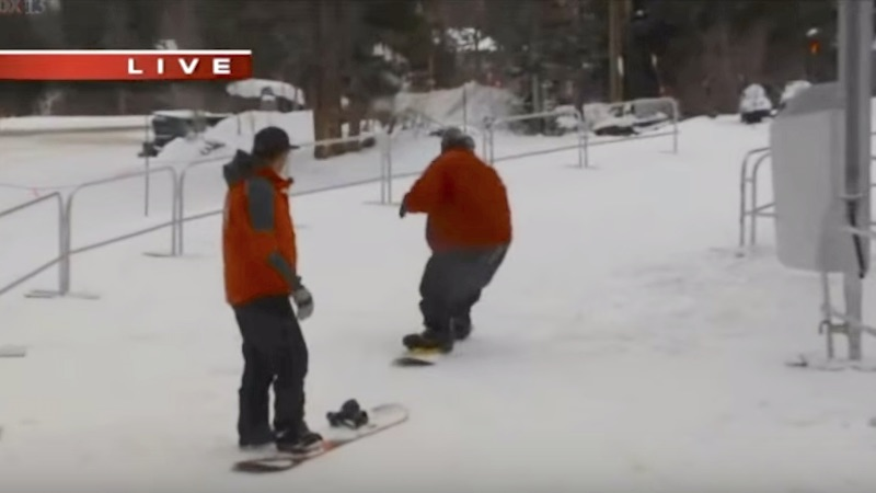 Reporter snowboarding for the first time does great until he wipes out for the silliest reason.