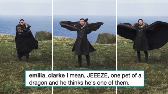 So this is what Jon Snow and Daenerys do behind the scenes on 'Game of Thrones.' Weirdos.