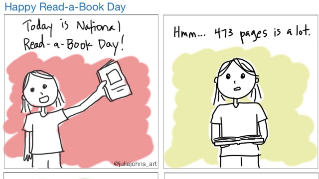 """SomeComics: """"National Read a Book Day"""" by Julia Johns"""