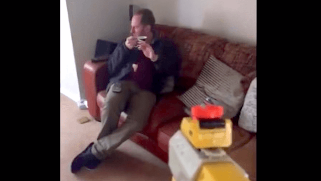 Son shoots dad with Nerf gun everyday, dad has quintessentially British response everyday.