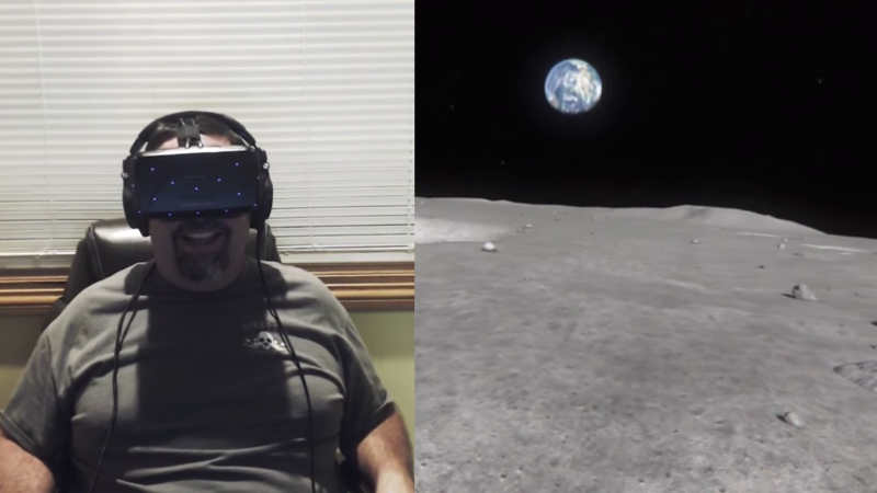 Dad brought to tears when son helps him finally go to space through a virtual reality headset.