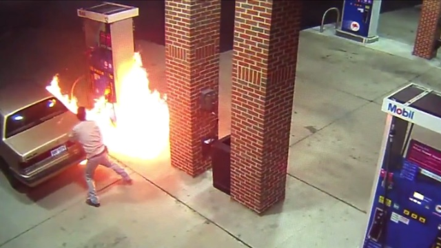 Man wisely tries to kill spider with fire; unwisely forgets he's at a gas station.