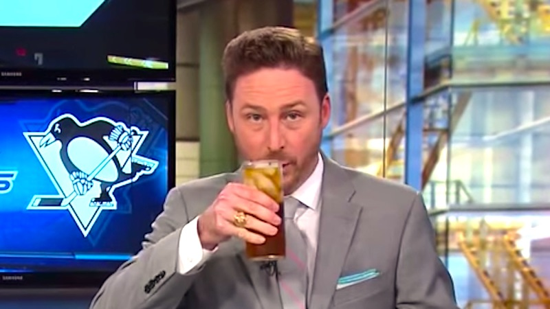 After his hockey team loses, sports anchor drinks on air and informs kids that dreams are a lie.