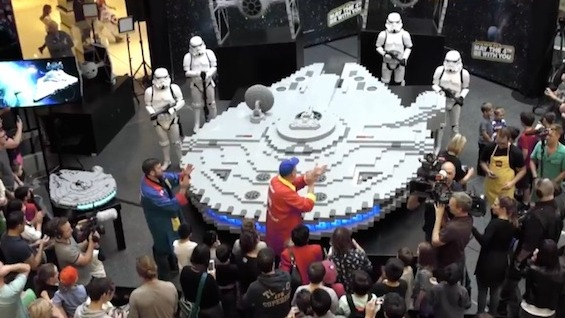 Celebrate May the Fourth by watching nerds build the largest Millennium Falcon out of Legos.