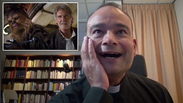 Watching this priest geek out over the new 'Star Wars' trailer is as much fun as geeking out over it yourself.