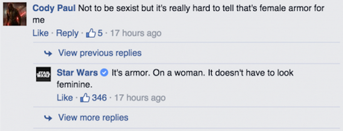 'Star Wars' Facebook page strikes back at sexist comment about Stormtrooper armor.