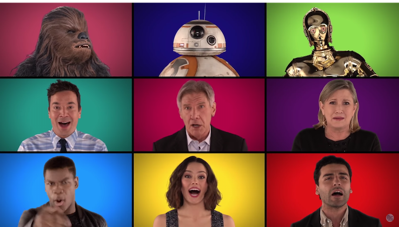 'The Force Awakens' cast sang an a capella tribute to 'Star Wars' with Fallon and The Roots.