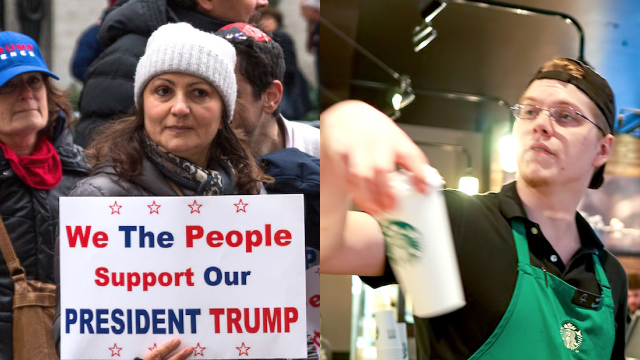 Starbucks customer says she was 'bullied' by baristas for wearing a Trump tee-shirt.