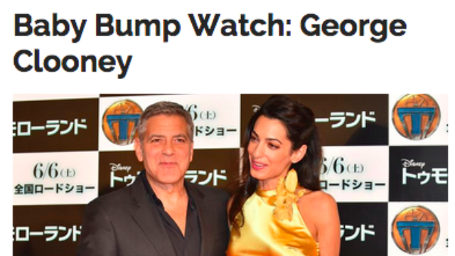 """New celebrity site from The Onion turns """"baby bump"""" speculation on George Clooney's penis."""